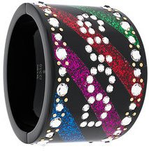 Gucci - Bracciale rigido 'Rainbow' - women - Acetate/Crystal - M - BLACK