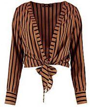 Lola Crop Stripe Wrap Tie Front