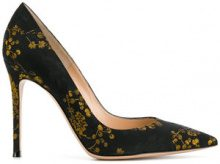 Gianvito Rossi - Pumps floreali lavorazione jacquard - women - Polyester/Leather - 35, 36, 36.5, 37.5 - Nero