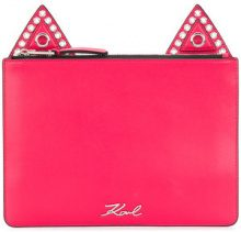 Karl Lagerfeld - cat ears clutch - women - Leather - OS - RED