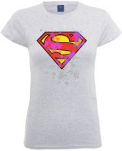DC Comics Official Superman Splatter Logo Womens T-Shirt, Donna, Grigio (Heather Grey), S
