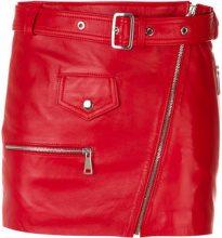 Manokhi - belted short skirt - women - Leather/Viscose/Polyester - 34, 36, 38, 40 - RED