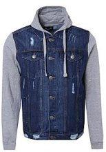 Giubbotto di jeans con maniche in jersey