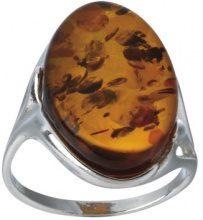 Nature d'Ambre 3111237 - Anello donna in ambra Cognac, Argento 925/1000, 18, cod. 311111058