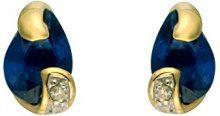 Ivy Gems Donna 9cts (375) Oro giallo pera blu Zaffiro FINEEARRING