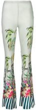 Black Coral - jungle print flared trousers - women - Viscose/Spandex/Elastane - One Size - GREEN