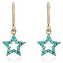 Rosa De La Cruz - turquoise star earrings - women - 18kt Gold/Turquoise - OS - BLUE
