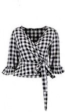 Petite Louise Gingham Ruffle Wrap Top