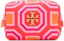 Tory Burch - printed small cosmetic case - women - Leather/Polyester - OS - PINK & PURPLE