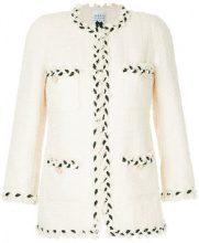 Edward Achour Paris - braided trim tweed jacket - women - Cotton/Polyimide - 40, 44 - WHITE
