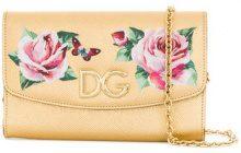 Dolce & Gabbana - Portafoglio con tracolla con catena - women - Calf Leather - OS - METALLIC