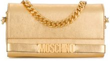 Moschino - logo plaque clutch bag - women - Leather - One Size - METALLIC