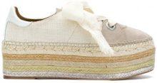 Chloé - Espadrillas con suola rialzata - women - Cotton/Leather/Suede - 35, 37, 39, 38, 40, 36 - NUDE & NEUTRALS