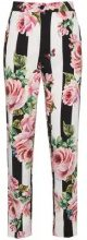 Dolce & Gabbana - striped rose print trousers - women - Cotone/Viscose - 42 - Nero