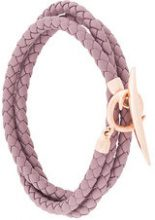Shaun Leane - Braccialetto 'Quill' - women - Rose Gold Plated Sterling Silver/Leather - OS - PINK & PURPLE