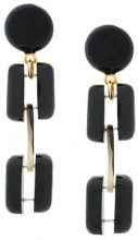 Marni - chunky clip-on earrings - women - Fluorocarbon Resin/Buffalo Horn - OS - BLACK