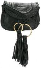 See By Chloé - Borsa a spalla mini con nappina - women - Calf Leather/Cotton - One Size - BLACK