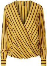 Y.A.S Striped Wrap Blouse Women Yellow