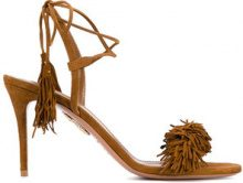 Aquazzura - Brown Wild Thing 90 Suede Sandals - women - Suede/Leather - 35, 35.5, 36, 41 - BROWN