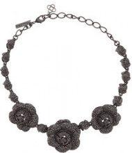 Oscar de la Renta - Gardenia Pave necklace - women - Pewter/glass/Brass/Gold - OS - BLACK
