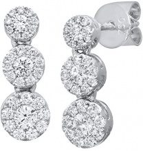 Naava Orecchini Pendenti da Donna, Oro Bianco, 18 Carati, Diamante