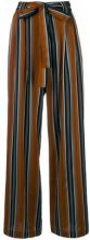 Roberto Collina - striped high waisted trousers - women - Cotton/Acetate - S, L - BROWN