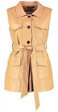 Harper Sleeveless Faux Leather Safari Jacket