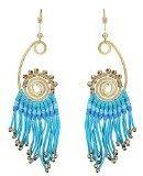 Orecchini in ottone, colore oro, stile etnico Bohemien, lunghi, con fili e motivo a Spirale, blu, con chiusura a clip