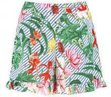 Erin Striped Floral Ruffle Hem Shorts