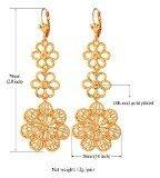 U7® placcatura oro 18 k, motivo floreale - Orecchini pendenti lunghi da donna
