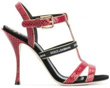 Dolce & Gabbana - T-bar heeled sandals - women - Calf Leather/Polyester/Leather - 35, 35.5, 36, 37.5, 38.5, 39, 40, 37, 38, 41, 39.5, 36.5 - RED