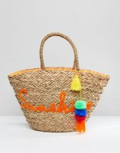 South Beach - Sunshine - Borsa di paglia da spiaggia ricamata - Multicolore
