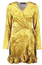 Lola Velvet Spot Ruffle Tea Dress