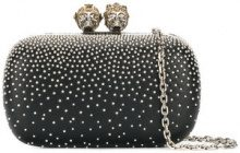 Alexander McQueen - Clutch 'Queen And King' - women - Calf Leather/metal - One Size - Nero