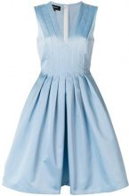 Rochas - flared v-neck dress - women - Polyester/Silk - 40, 42, 44 - BLUE