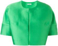 P.A.R.O.S.H. - short sleeved crop length jacket - women - Silk/Polyester - L, XL, XXL, XXXL, M - GREEN