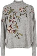 Y.A.S Batwing Embroidery Long Sleeved Top Women Grey
