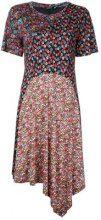 Goen.J - Vestito con orlo asimmetrico e decorazione floreale - women - Cotton/Rayon - S - BLACK