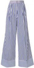 Rossella Jardini - Pantaloni ampi a righe - women - Cotone - 40, 42, 38 - Blu