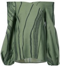 Marina Moscone - marble stripe off the shoulder blouse - women - Viscose/Wool - 38, 40 - GREEN