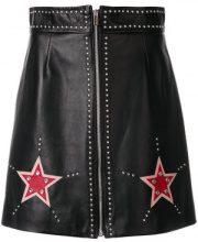 Miu Miu - Minigonna con decorazioni a stella - women - Lamb Skin/Spandex/Elastane/Cupro - 42 - BLACK
