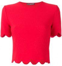 Alexander McQueen - Blusa con orlo a smerlo - women - Viscose/Polyester/Polyamide/Spandex/Elastane - XS, S - RED