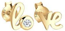 Diamore: orecchini da donna con incisione Love, oro giallo 585; diamante bianco, taglio rotondo (0,03k), 0312512713