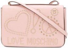 Love Moschino - studded logo crossbody bag - women - Polyurethane - One Size - PINK & PURPLE