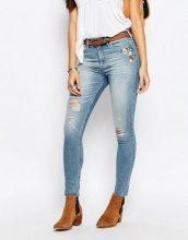 Abercrombie & Fitch - Jeans skinny a vita alta con ricamo floreale