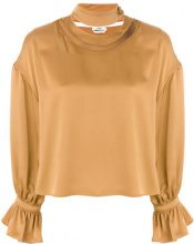 Fendi - Blusa con effetto metallizzato - women - Polyamide/Acetate/Viscose - 38 - YELLOW & ORANGE