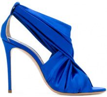 Casadei - draped crossover sandals - women - Silk Satin/Kid Leather/Leather - 35, 36, 36.5, 37, 38, 38.5, 39.5, 40.5, 41 - BLUE