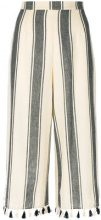 Dodo Bar Or - Pantaloni a righe con nappine - women - Cotone - S, M, L - Nero