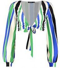 Libby Slinky Stripe Tie Front Crop