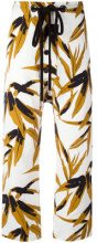 Marni - Swash print trousers - women - Cotone/Linen/Flax - 42 - Color carne & neutri